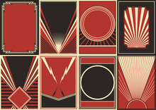 Retro Propaganda Posters Style Background Set, Black Red White Placards Templates