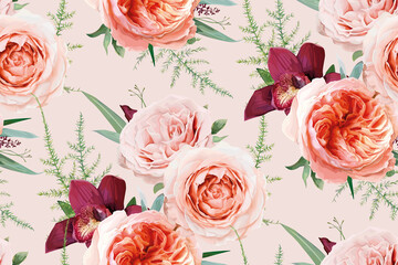 Vector, watercolor seamless floral pattern, textile fabric background design. Blush peach, light pale coral Rose flowers, burgundy orchid, greenery fern leaves, eucalyptus bouquet. Botanical wallpaper