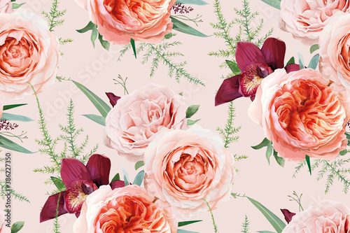 Canvastavla Vector, watercolor seamless floral pattern, textile fabric background design