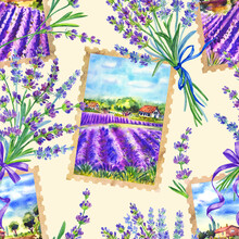 Seamless Pattern With Landscapes Of Lavender Fields And Bouquets Of Lavender, Background In Provence Style, Watercolor Illustration, Print For Textiles And Decor Of Various Products.