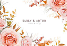 Vector Wedding Invite Card, Poster, Banner Design. Warm Fall Colors. Pink, Blush Peach Rose Flowers, Autumn Brown Beige, Orange Red Sepia Eucalyptus Branches, Foliage, Leaves Decorative Frame Template