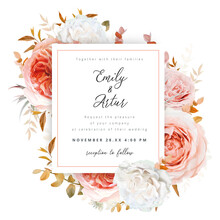 Vector Wedding Invite Card, Invitation Design. Blush Peach, Ivory White Roses, Pale Coral Flowers, Autumn Brown, Beige, Red, Orange Sepia Eucalyptus Branches, Foliage, Leaves Decorative Frame Template
