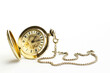 Gold vintage pocket watch isolated on white background