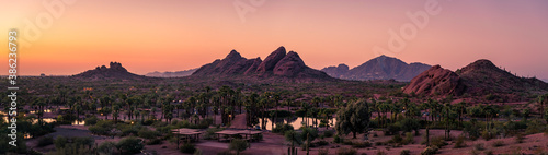 Vászonkép The sunsets over Papago Park in Phoenix, Arizona with Camelback Mountain in the background