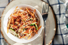 Rice Noodles With Vegetables A...
