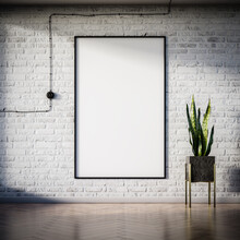 Vertical Picture Or Poster Template On A Brick Loft Wall