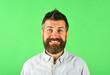 Leinwandbild Motiv Smiling man portrait. Happy bearded man. Smile. Close up portrait of smiling bearded man. Isolated.