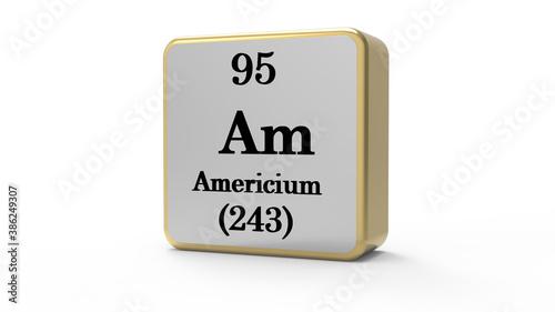 3d Americium Element Sign. Stock image. Wallpaper Mural