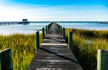 Wooden Pier In Chincoteague Ba...