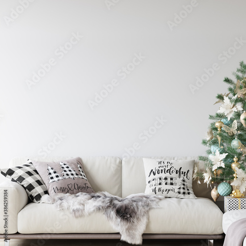 Living Room Christmas interior in Scandinavian style. Christmas tree, toys, gift boxes. Wall Mockup. Poster Mockup. Canva Mockup. 3d rendering, 3d illustration - 386259384