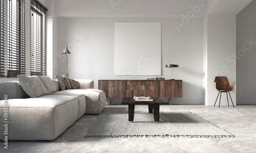 Obraz The modern living room interior and white wall texture background  - fototapety do salonu
