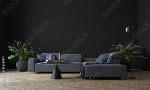 Fotografie, Obraz The modern cozy mock up of living room interior and black wall texture backgroun
