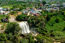 The Elephant Waterfall In Dalat In Central Vietnam As Seen From Above From The Giant Buddha Statue