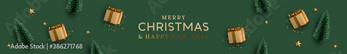 Christmas banner. Background Xmas design of realistic beige gifts box, decorative green tree pine, gold star, golden tinsel confetti. Horizontal Christmas header for website template, flat top view. - 386271768