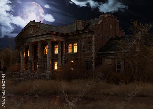 Photo Abandoned haunted house refuge of spirits moonlit night 3d illustration