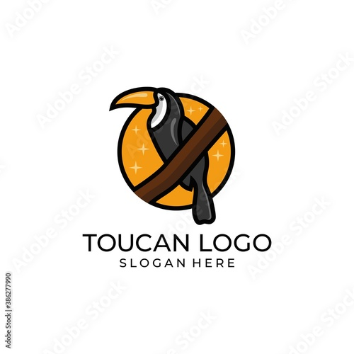 Naklejka premium toucan tropical bird logo icon vector template in colorful flat line outline style illustration