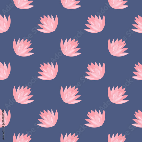 Canvas Print White water flower ,seamless pattern on dark blue background.