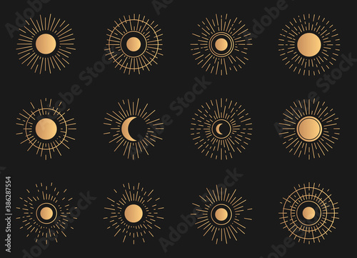 Fototapeta Golden set of radiant sun and moon