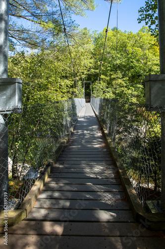 Obraz na plátne Long Trail Hiker's view crossing the Lamoille River via suspension footbridge