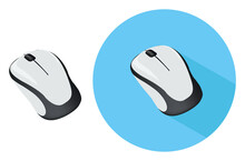 White Computer Mouse ,illustration, Vector On White Background.