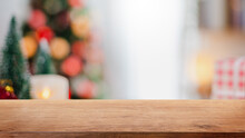 Empty Wood Table Top On Blur With Bokeh Christmas Tree And New's Year Decoration On Window Banner Background - Can Be Used For Display Or Montage Your Products.