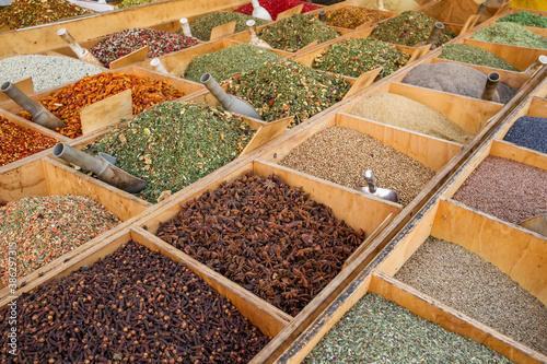 Wide variety of spices on a street market stall in Sicily, Italy Canvas