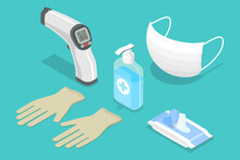 3D Isometric Flat Vector Illustration Covid 19 Minimal Protective Package, Medical Gloves And Mask, Hand Sanitizer, Wet Wipes, PPE - Personal Protective Equipment.