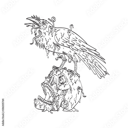 Naklejka premium Raven Perching on Top of Human Skull Dripping with Earthworm or Borrowing Worm Line Art Drawing