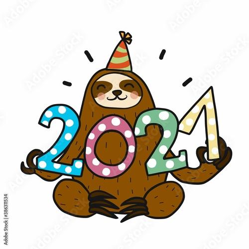 Naklejka premium 2021 Sloth celebrating new year cartoon vector illustration