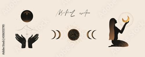 Photographie Modern minimalist mystical astrology aesthetic illustration