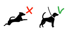 Keep Your Dog On A Leash. Pet On Lead Allowed Only. Regulation Sign For Dog Owners Isolated On White Background. Vector Illustration