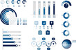 Collection of vector circle chart infographic templates for presentations, advertising, layouts, annual reports. 5 options, steps, parts, performance review.