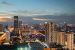 Hanoi skyline cityscape during sunset period at Pham Hung street in Cau Giay district in 2020