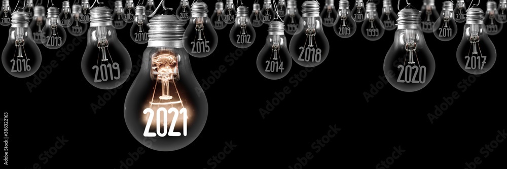 Fototapeta Light Bulbs with New Year 2021