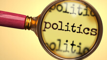 Examine And Study Politics, Showed As A Magnify Glass And Word Politics To Symbolize Process Of Analyzing, Exploring, Learning And Taking A Closer Look At Politics, 3d Illustration