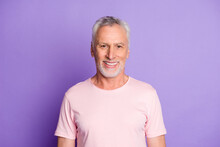 Close-up Portrait Of His He Nice Attractive Cheerful Cheery Content Grey-haired Man Wearing Pink Tshirt Healthy Life Isolated Over Bright Vivid Shine Vibrant Lilac Purple Violet Color Background