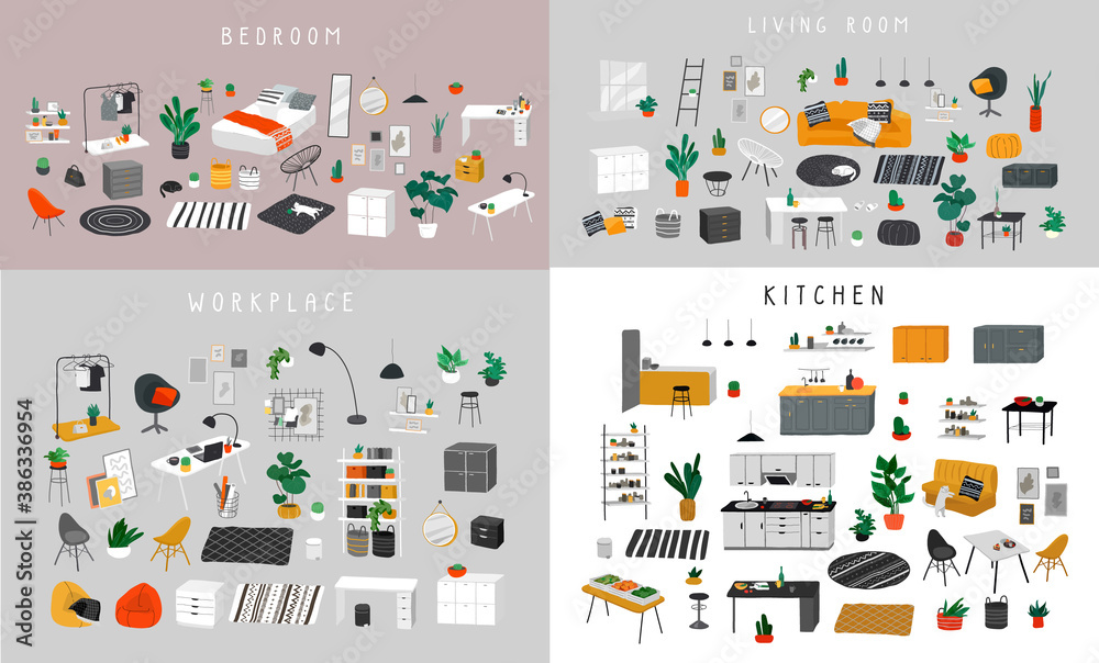 Fototapeta Ineriors sets. Stylish comfy furniture and modern home decorations in trendy Scandinavian or hygge style. Cozy Interior furnished home plants for sleeping. Flat cartoon vector illustration