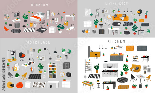 Obraz Ineriors sets. Stylish comfy furniture and modern home decorations in trendy Scandinavian or hygge style. Cozy Interior furnished home plants for sleeping. Flat cartoon vector illustration - fototapety do salonu