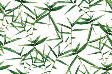 Watercolor painting bamboo green leaves seamless pattern on white background.Watercolor hand drawn illustration tropical exotic leaf prints for wallpaper,textile Hawaii aloha summer style.