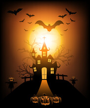 Happy Halloween Background With Pumpkin Ghost, Haunted House With Full Moon And The Witch Was Casting Magic Spells And Made Poison. Template For Halloween Party. Vector Illustration