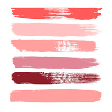 Makeup Strokes, Set Of Lipstick Swatches, Beauty And Cosmetic Nude, Pink And Red Brush Smudges Vector Background. Smear Make Up Lines Collection, Liquid Make Up Texture Isolated On White.