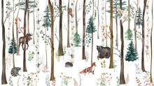 Children's Wallpaper. Watercolor Forest With Animals.
