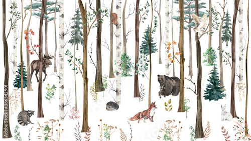 Fototapeta premium Children's wallpaper. Watercolor forest with animals.