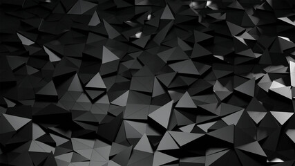 Abstract background with triangulated surfaces. Illustration with black polygonal shapes. Minimalistic design with low poly elements. 3d render.
