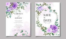 Elegant Set Of Wedding Invitation Cards With Beautiful Purple Floral