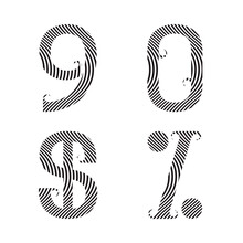 Nine, Zero Striped Numbers, Dollar And Percent Sign With Flourishes. Font Of Zebra Pattern.