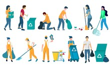 Cleaning Company Staff, Male, Female Character Set, Flat Vector Isolated Illustration. Cleaner Lady, Janitor Man With Home Cleaning Equipment. Floor And Window Washing, Dusting, Garbage Collection.