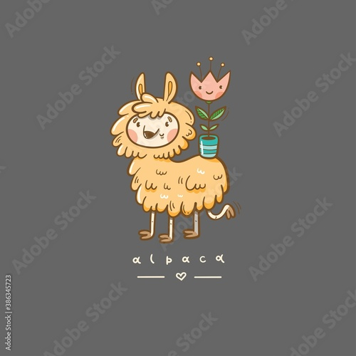 Naklejka premium Card with cute cartoon alpaca and flower in pot. Doodle Funny animal. Cheerful fluffy pet. Vector contour colorful image.