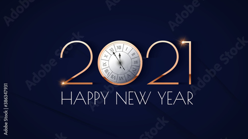 Happy new 2021 year Elegant gold text with clock and light. Minimalistic text template