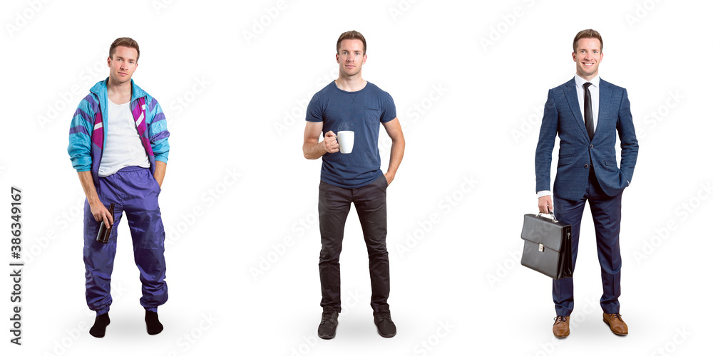 Fototapeta Full body portraits of the same young man in different appearances